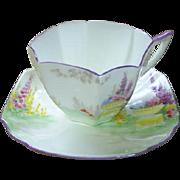 Early Shelley Foxglove 'Garden Urn' cup & saucer
