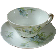 Haviland, Limoges blue floral cup & saucer, early 1900s