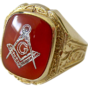 Ostby Barton 10K Gold Carnelian Masonic Ring  Maltese Cross Signed Circa Pre-1912