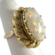 14K Gold Opal Ring Exceptional Large Presentation