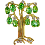 KJL Kenneth Jay Lane Tree Brooch Green Dangles