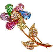 Joan Rivers Colorful Spinning Pinwheel Flower Brooch Piin