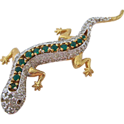 Panetta Sparkly Gecko Pin Brooch Clear Green