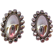 Sterling Silver 925 Concho Style Screw Back Earrings