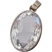 Huge Sterling Silver 925 Faceted Rock Crystal Pendant Over 40ct Estimated Weight
