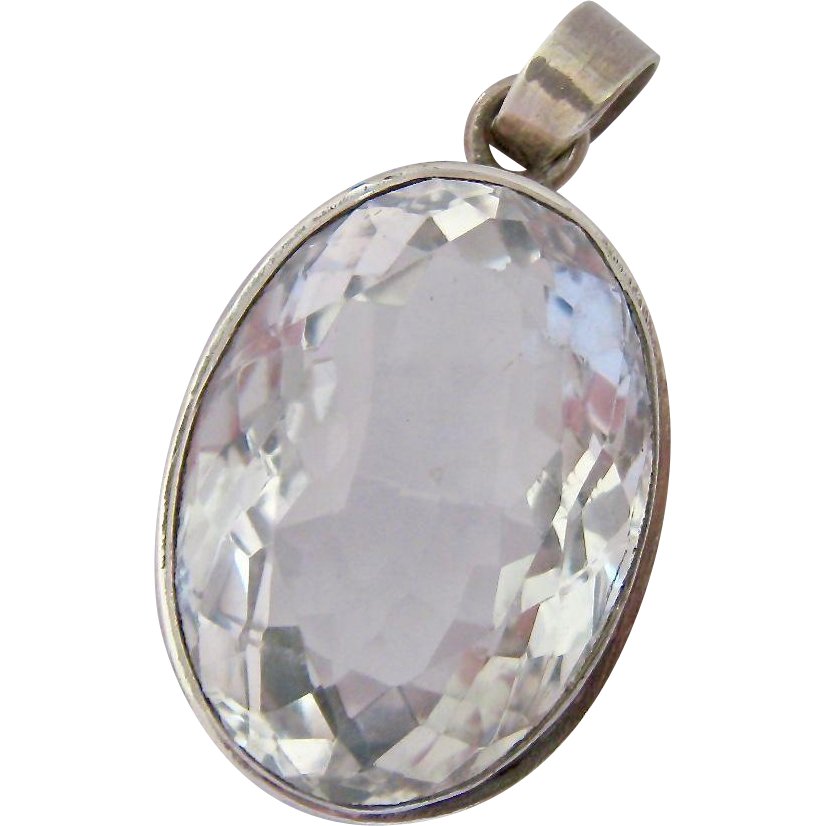 Furniture Store Sterling Va Huge Sterling Silver 925 Faceted Rock Crystal Pendant Over 40ct from ...