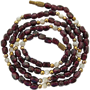 Faceted Garnet Bead Necklace with Mother of Pearl MOP and Gold Tone Accents 25 Inches
