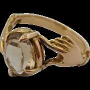 18K Rose Gold Victorian Gemstone Citrine Ring Hands Motif