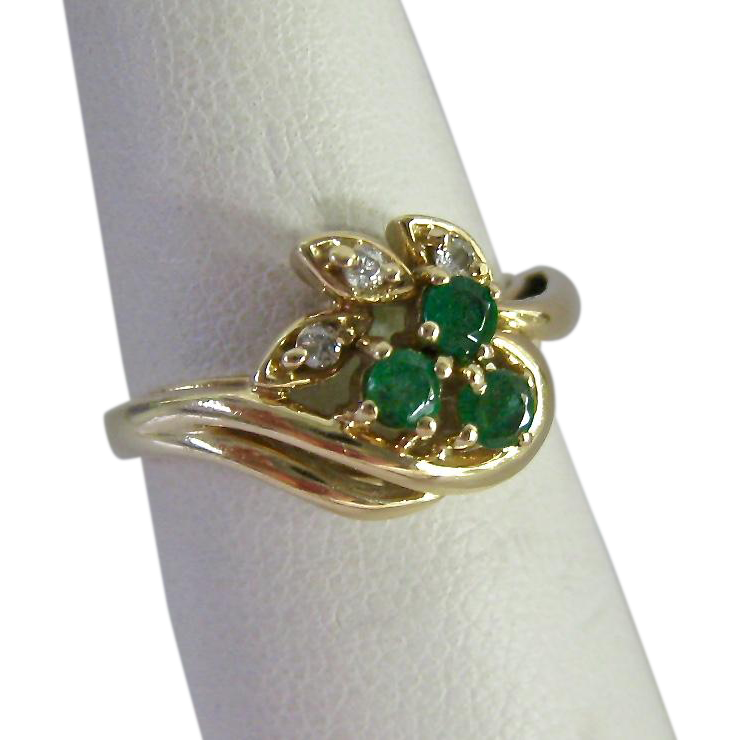 10k gold emerald and ring from susabellas on ruby