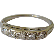 14K White Gold Band Ring 5 Diamonds Estimated TCW .15ct