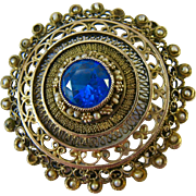 Large Gilt Sterling Silver Filigree Brooch Pendant Blue Spinel Seed Pearls