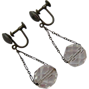 Sterling and Faceted Clear Rock Crystal Dangle Earrings Screw Backs