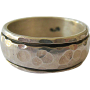 Sterling Silver 925 Wide Band Hammered Surface Ring