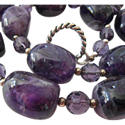 Large Amethyst Quartz Bead and Crystal Toggle Necklace Matching Earrings Set