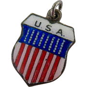 800 Silver and Enamel USA Shield Charm Red White Blue