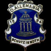 Sterling Silver 925 & Enamel Pin O'Allemania 1894 Schutz in Noth