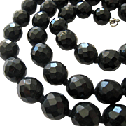 Large Faceted Black Glass Bead Necklace Hand Knotted