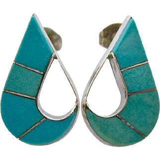 Sterling Silver 925 Turquoise Colored Inlaid Stones Post Earrings