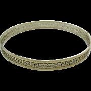 Lightly Gilt Sterling Silver 925 Bangle Bracelet Greek Key Design