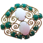 Green White Lucite Cabochon Open Work Brooch