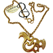 Gold Tone Bird Pendant Necklace Signed Jeanne Original Paper Tag