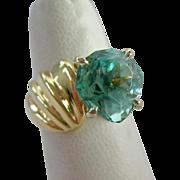 14K Gold Prasiolite Ring Substantial Unusual