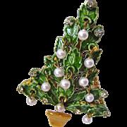 Original By Robert Christmas Tree Pin Brooch Enamel Rhinestones Faux Pearl Dangles
