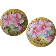 Two Vintage Hand Painted Porcelain Cuff Buttons Cufflinks