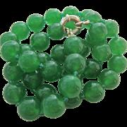 Translucent Emerald Green Gemstone Bead Necklace Likely Jade Jadeite