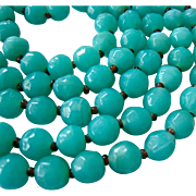 Long Faceted Aqua Glass Bead Necklace 43 Inches Endless