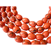 Orange Beads with Black Veins Glass or Ceramic Bead Necklace