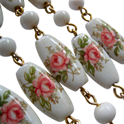 Charming Vintage White Bead Necklace with Floral Design