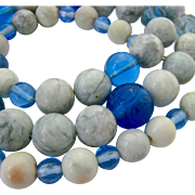 Marble Gemstone & Blue Glass Bead Necklace