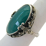 Sterling Silver 925 Green Glass Stone Ring Adjustable
