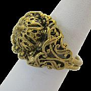 Gold Tone Czech Ring Adjustable Bold Regal