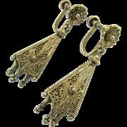Gorgeous Gilt Sterling Silver 925 Filigree Spun Silver Dangle Earrings Screw Back