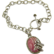Sterling Silver 925 Link Bracelet with Pink Stone Butterfly Dangle Charm Toggle Clasp