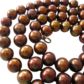 Lustrous Bronze Cultured Pearl Necklace Sterling Clasp