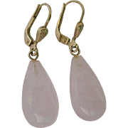 8K Gold Lever Back Earrings with Pale Rose Quartz Drop - Red Tag Sale Item
