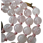 Rose Quartz Bead Necklace Hand Knotted Silver Filigree Clasp