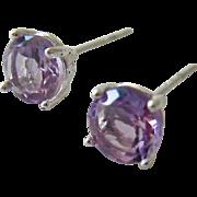 Sterling Silver 925 Amethyst Post Earrings