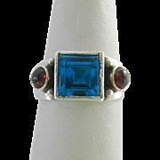 Sterling Silver 925 Blue Topaz & Garnet Ring