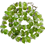 Peridot Amethyst Rock Crystal Nugget Necklace Sterling Silver 925 Clasp