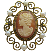 Shell Cameo Cultured Pearls Gold Filled Brooch Pendant