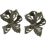 Sterling Silver 925 Marcasite Clip Earrings Ribbon Design Signed