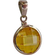 Sterling Silver 925 Simulated Citrine Pendant Checkerboard Faceting