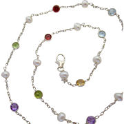 Sterling Silver 925 Multi-Gemstone Necklace