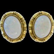 14K Gold Opal Post Earrings