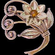 12K Gold Filled Floral Brooch Signed Harry Iskin