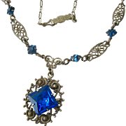 Vintage Lavaliere Necklace Blue Paste Stones Silver Tone Filigree